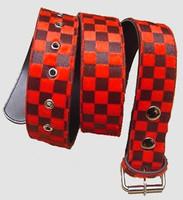 Check red belt fluffy belt