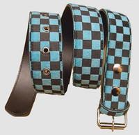 Check blue belt fluffy belt