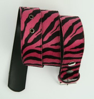 Zebra pink belt fluffy belt
