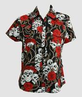 Skull rose black shirts lady