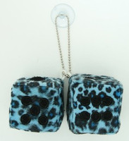 Dice leopard blue-black / black 2 dice car accessory