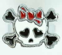 Cute Sk bone white-red skull ring