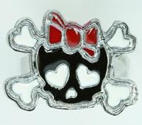 Cute Sk bone Bl-red skull ring
