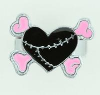 Heart bone black-pink sweet ring