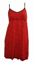 Front - SE leopard red spaghetti dress