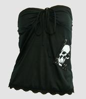 Front - PUB plain skull white big top punk top