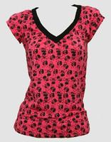 Skull big pink-black fashion t-shirt