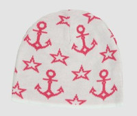 Anchor white-pink stars beanie