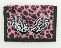 Leopard pink swallow wallet standard wallet