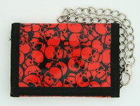 Skulls red-black mixed with chain wallet