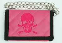 Skull plain pink embroidery with chain wallet