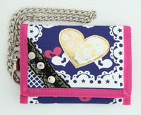 Skull heart purple embroidery with chain wallet