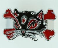Cat bone black-red animal ring