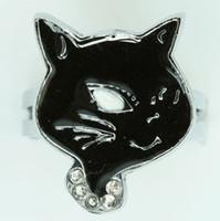 Cat black animal ring