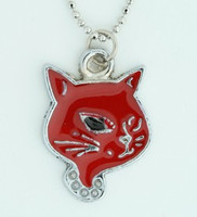 Cat red animal necklace