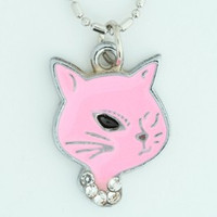 Cat pink animal necklace