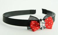 Black-red / cat bone white-black red bow & animal