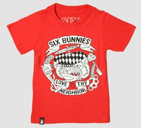 SB love thy neighbor red six bunnies