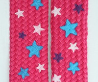 Star S pink-blue-white star shoelace