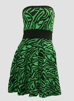 Front - DB zebra green strapless pin up