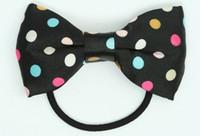 Dot rainbow bow hair tie