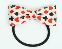 Poker white bow hair tie