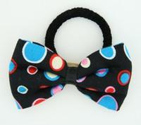Dot retro black-blue bow hair tie