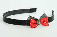 Black-Red / cherry small red bow & sweet