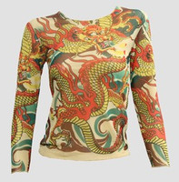 Front - T dragon yellow transparent long sleeve top
