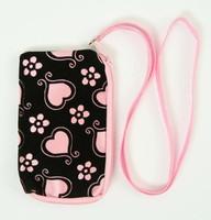 Heart flower L-pink mobile bag