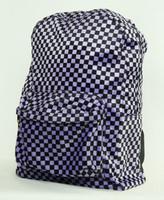 Check purple fluffy rucksack
