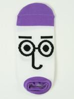 M glasses purple socks accessory