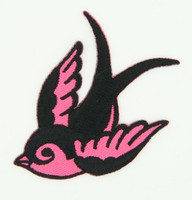 S cute swallow pink left - medium patch