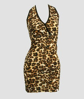 Front - Lace leopard brown L sexy dress