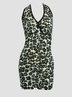 Front - Lace leopard grey sexy dress