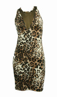 Front - S V leopard sexy dress