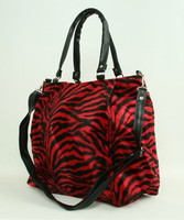 Zebra red fashion fluffy bag