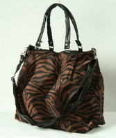 B zebra D-brown fashion fluffy bag