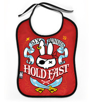 SB hold fast red six bunnies bib