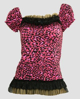 Front - L leopard pink classic top pin up