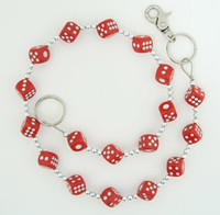 Dice red-white wallet chain