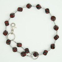 Dice black red WC 2 wallet chain