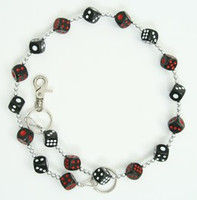 Dice black-red-white WC 2 wallet chain