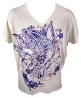 A comfortable and cozy t-shirt with calm blue and purple print. It brings you great luck ;)