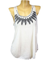 Front - Indian feathers around the neck white lady tank top