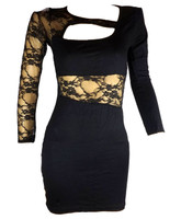 Front - Sexy black lady dress - right hand lace