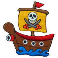 Cute Pirate Boat - Deadly Skull & Crossbones Big Patch