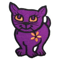 Purple cat with flower in the mouth patch