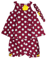 Baby kid set - cerise with white dots