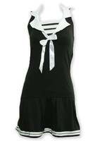 Front - Navy stripes pin up black and white